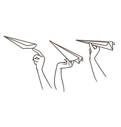 Drawing sketch of the hands launching paper vector
