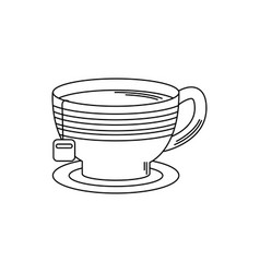 Drinks tea cup with herb bag in dish fresh line vector