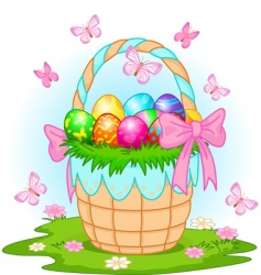 Easter basket with colorful eggs vector image