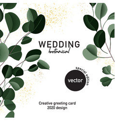 eucalyptus floral wedding card hand-drawn vector image