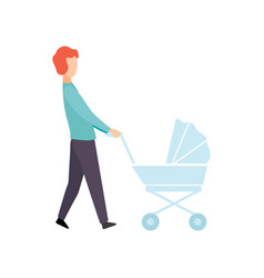 father walking with baby stroller parent taking vector image