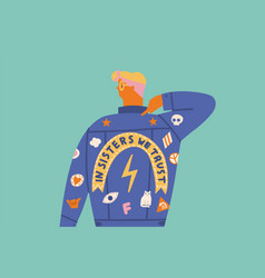 feminist girl card cartoon character in vector image