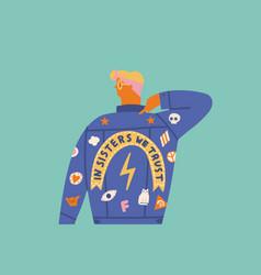 feminist girl card cartoon character vector image