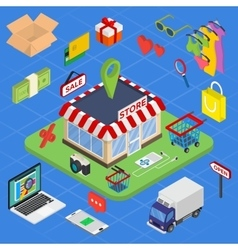 Flat 3d web isometric e-commerce electronic vector image vector image