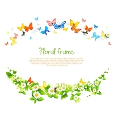 frame with beautiful butterflies and daisy vector image