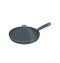 frying pan with lid pan is closed with cover vector image