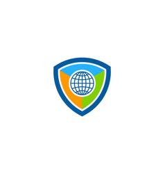 globe shield logo icon design vector image