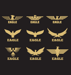 Gold heraldic eagles logo collection on black vector