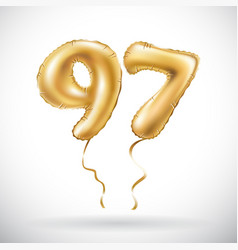 Golden number 97 ninety seven metallic balloon vector