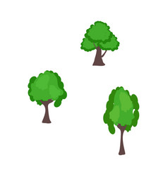 Green trees elements with different lush foliage vector