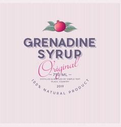 Grenadine label pomegranate syrup sticker vector