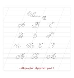 Hand drawn calligraphic Alphabet part 1 vector