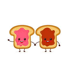 happy cute smiling funny kawaii toasts vector image