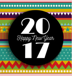 happy new year 2017 abstract color art card design vector image