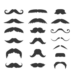 Hipster Mustache Big Set on White Background vector image