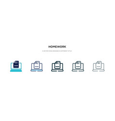 Homework icon in different style two colored and vector