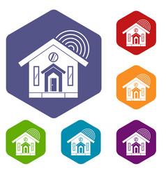 House icons set hexagon vector