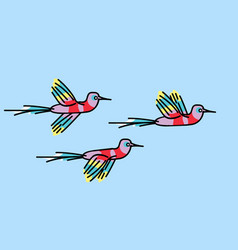 hummingbirds a flock small colorful birds vector image