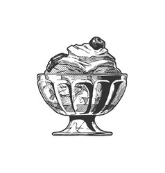 Ice cream served in glass bowl vector