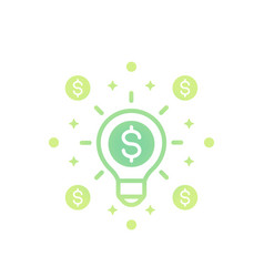 Idea is money icon on white vector