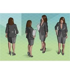 Isometric Woman Secretary Standing vector image