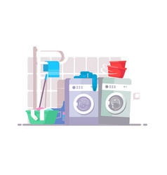 Laundry room interior vector
