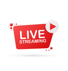 live streaming flat logo - red design element vector image