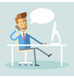 Manager sitting legs crossed at desk talking phone vector image