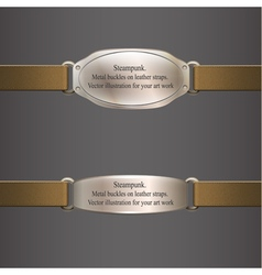 Metal banner on brown leather straps steampunk vector image