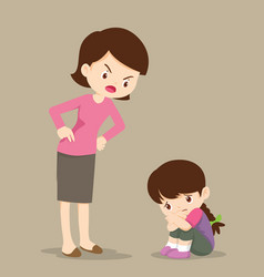 mother scolding sad children girl vector image