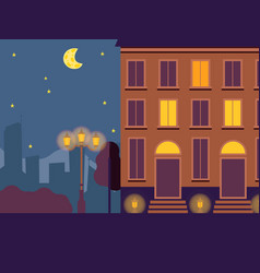 night town street light in house windows vector image