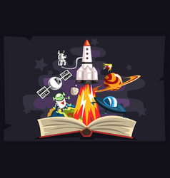 open book with rocket astronaut planets stars vector image