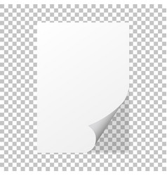 Paper curl on a isolated background with shadow vector