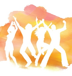 People dancing on a watercolor background vector
