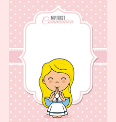 Praying girl with space for text vector