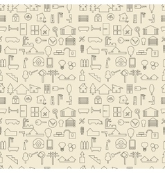 Real estate and construction items linear set vector image