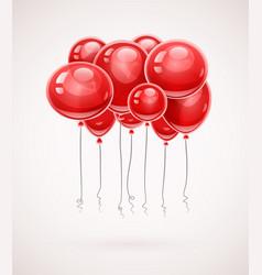 Red birthday balloons soaring vector
