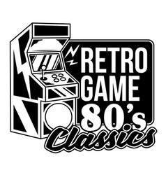 Retro game 80 s classics print design vector