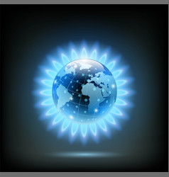 round blue flame of butane with planet earth vector image