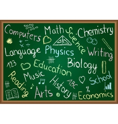 School subjects and doodles on chalkboard vector image