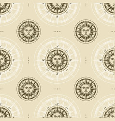 seamless vintage sun compass rose pattern vector image