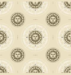 seamless vintage sun compass rose pattern vector image