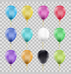 set multi-colored balloons vector image
