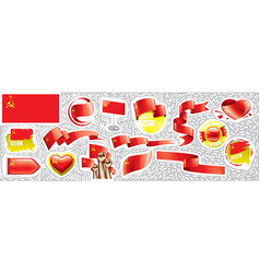 set national flag ussr in various vector image