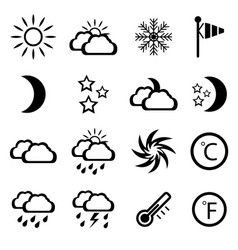 Set of black weather icons vector