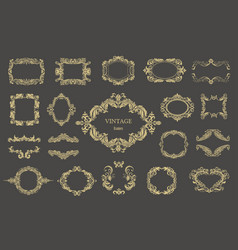 Set of gold vintage floral frames vector