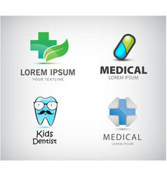 set of medical logos pill icon blue cross vector image