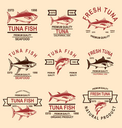 set seafood tuna labels design element vector image