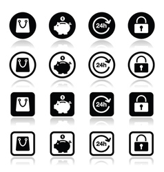 Shopping icons set - account save 24h vector