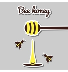 Spoon With Honey And Honeybee vector image